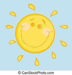 sourire, heureux, soleil