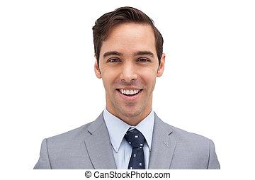 sourire, homme affaires, jeune