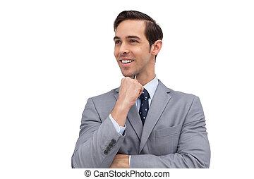 sourire, homme affaires