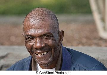 sourire, homme américain africain