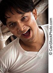 sourire, indien, mâle, rire