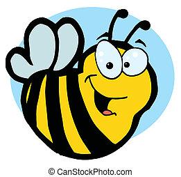 sourire, jaune, abeille