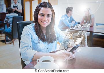 sourire, jeune femme, étudier