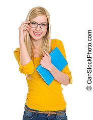 sourire, livre, étudiant fille, lunettes