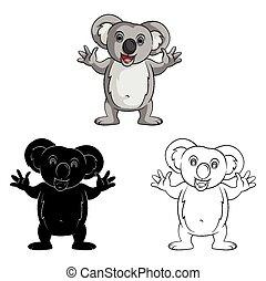 sourire, livre coloration, koala, caracter