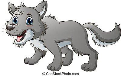 sourire, loup, dessin animé