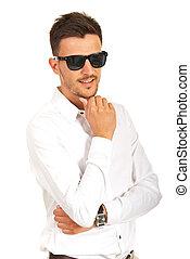 sourire, lunettes soleil, homme affaires