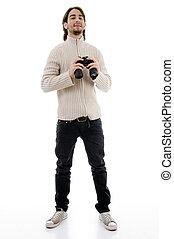 sourire, mâle, binoculaire, tenue