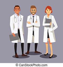 sourire, médecins, équipe soignant