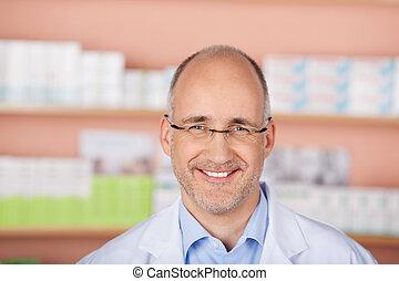 sourire, mûrir, pharmacien