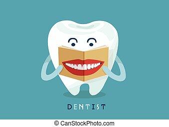 sourire, magazine, lecture, dent