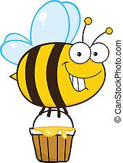 sourire, mignon, abeille, voler