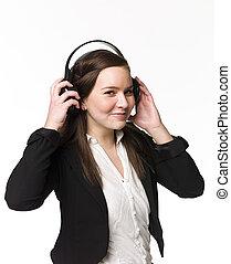 sourire, musique, girl, écouter