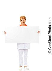 sourire, ou, tenue, docteur, bannière, femme, vide, personnes agées, infirmière