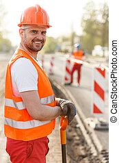 sourire, ouvrier construction, adulte