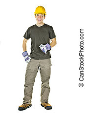 sourire, ouvrier construction, jeune