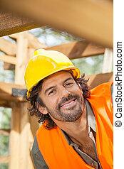 sourire, ouvrier construction, site