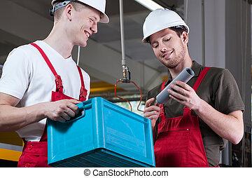 sourire, ouvriers, usine