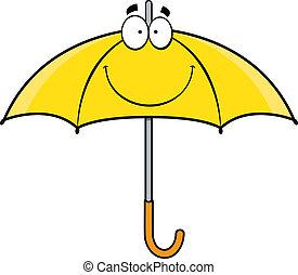 sourire, parapluie, dessin animé