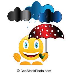 sourire, parapluie