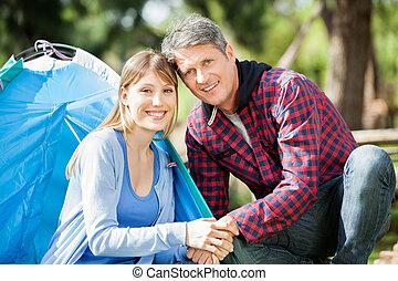 sourire, parc, camper couples