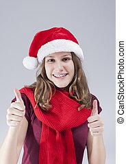 sourire, parenthèses, dentaire, contre, caucasien, arrière-plan., poser, adolescent, santa, dents, concepts., heureux, chapeau, blanc, traitement