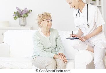sourire, patient, personnes agées, docteur