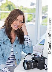 sourire, photographe, bureau