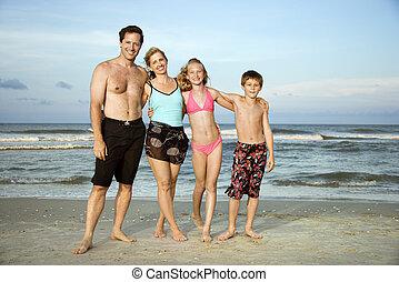 sourire, plage., famille, heureux