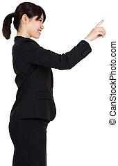 sourire, pointage, femme affaires