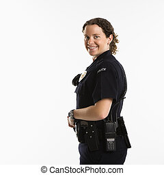 sourire, policewoman.