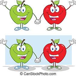sourire, pommes vertes, rouges