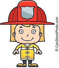 sourire, pompier, dessin animé, girl