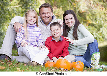 sourire, potirons, famille herbe, séance