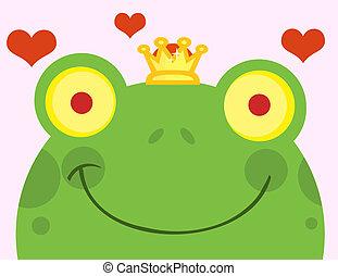 sourire, prince, figure, grenouille