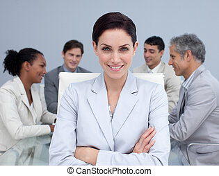 sourire, réunion, beau, femme affaires