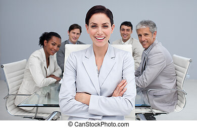 sourire, réunion, heureux, femme affaires