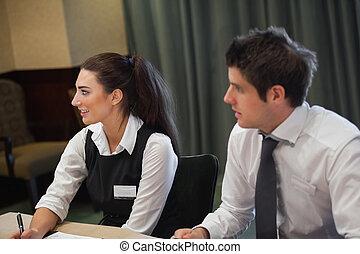 sourire, réunion, professionnels