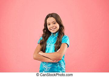 sourire, refers, style, usure, culturel, gens, cultures., oriental, eux-mêmes, diversity., usage, concept., autres, clothes., girl, explorer, différent, diversité, confirmer, respect, peu, attributes