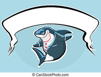sourire, requin, dessin animé, w, complet