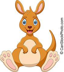 sourire, rigolote, dessin animé, kangourou
