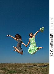sourire, sauter, filles, deux, heureux