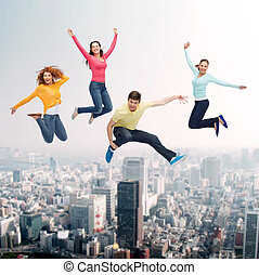 sourire, sauter, groupe, ados, air