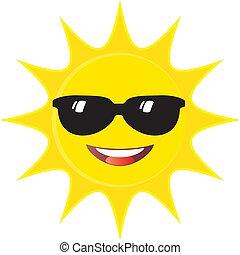 sourire, signe, mignon, face soleil