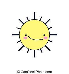 sourire, style, été, soleil, détaillé
