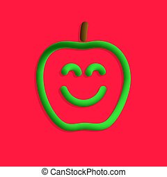 sourire, style, 3d, pomme, plastique