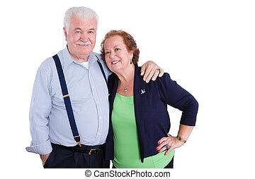 sourire, sur, isolé, fond, couples aînés