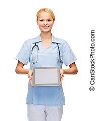 sourire, tablette, docteur, pc, femme, infirmière, ou