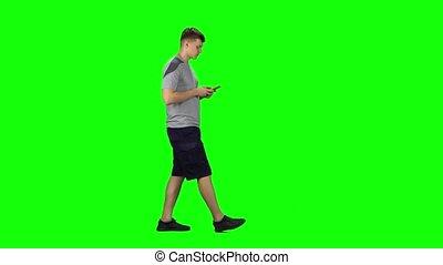 sourire, texting, vue, type, chroma, va, profil, key., téléphone, côté