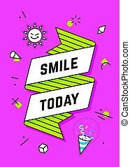 sourire, today., bannière, ruban, vendange